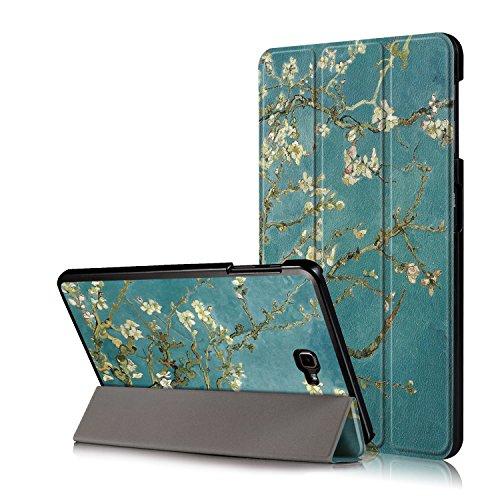 Xuanbeier Ultradunne Hulle Kompatibel mit Samsung Galaxy Tab A 101 2016 SM T580T585 A6 Tablette Schutzhulle mit Stander und Auto SchlafWachen FunktionBlume