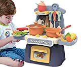 DIVUE Kitchen Toys, Kitchen Playset for 26 Pieces, Mini Play Kitchen with Simulate Sounds and Lights, Toddler Toys Companion Suitable for Boys and Girls (Multicolor)