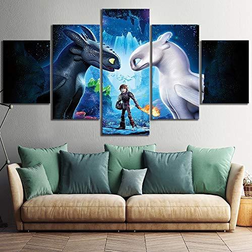 CXDM Drachenzähmen leicht gemacht 3 Die verborgene Welt Zeichentrickfilm Poster Bilder Dekorativ Malerei für Wohnzimmer Wand Dekoration,B,30×50×2+30×70×2+30×80×1