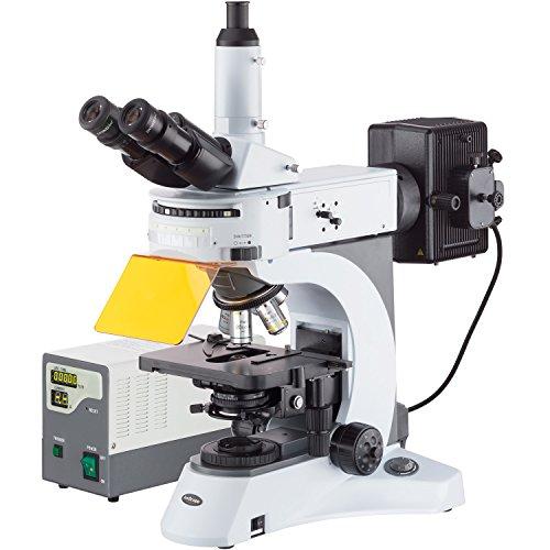 AmScope 40X-1000X rechtopstaande fluorescentie microscoop met draaiende multi-filter torentje