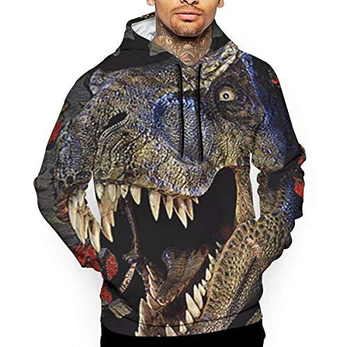 ishengx Dinosaur Scary Men 's Hoodie Sudadera Cool Women Pullover Hooded Fashion Adult Sudadera con Capucha para Unisex