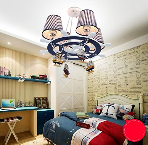 Lily's-uk Love Méditerranée Rudder LED Lustre de chambre d'enfant Creative Cartoon Art Eye Eye Chambre Chambre Lampe