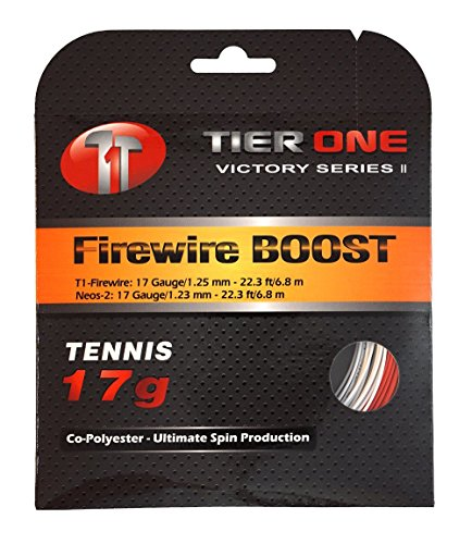 Tier One Firewire Boost (co-Poly/co-Poly Hybrid) Tennis String (Set - Red/White, 17 Gauge (2 x 6.8 m Sets))