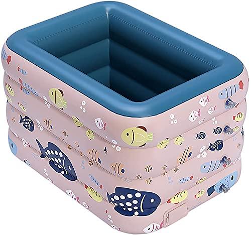ZXC Piscina inflable, piscina infantil para niños, piscina familiar para niños adultos patio de jardín interior y exterior, inflación automática, fácil de montar, rosa - 140 × 110 × 75 cm