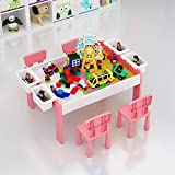 HIZLJJ 3-in-1 Kids Multi Activity Table Wooden Craft and Construction Play Table Large Building Blocks Toy Perfect for Children 3 Years Old and Up,Size 80 x 57 x 45cm Colour:Pink, Yellow, Blue