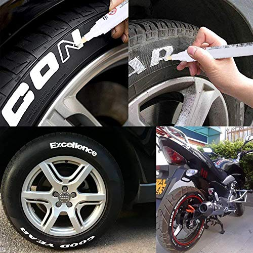 thorityau 10 STÜCKE Reifen Lackstift Weiß Reifen Stift Set Universal Wasserdichte Permanent Stift Fit Für Auto Motorrad Reifenprofil Gummi Metall