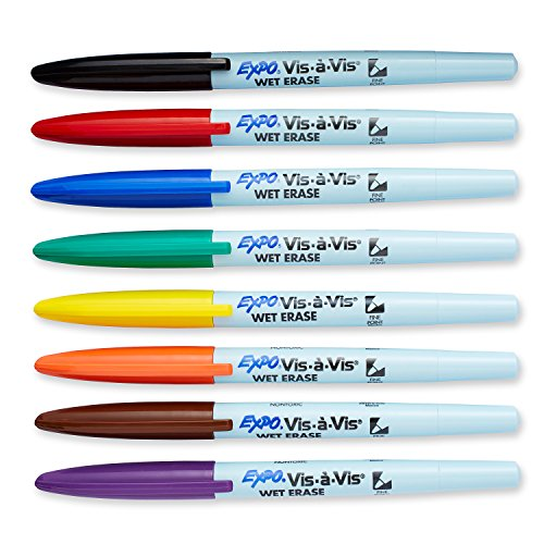 EXPO 16678B Vis-A-Vis Wet-Erase Overhead Transparency Markers, Fine Point, Assorted Colors, 8-Count
