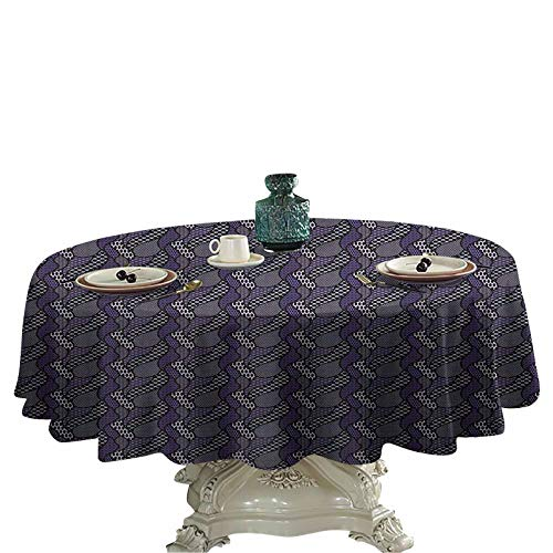 Abstract Fabric Tablecloth Dotted Pattern with Curved Lines Vintage Inspirations in Abstract Arrangement Table Cover 36 inch