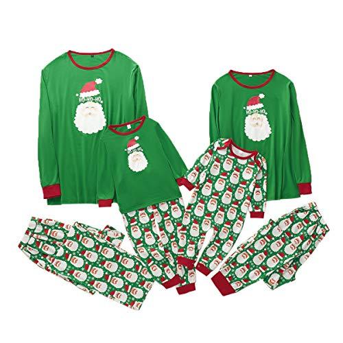 Borlai Pijamas Navidad de Algodón Familia Pijama Pajama Set de Manga Larga Familia de Navidad a Juego Set, Verde,...