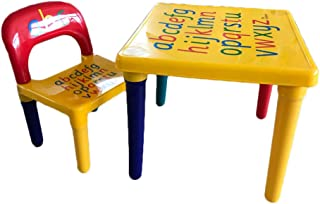 Kids Table and Chair Set Plastic ABC Alphabet Study Table and Chair Set for Children Learning Desk and Chair