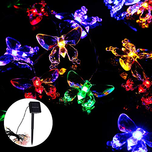 6.5M 30LED Solar Powered Fairy Lights 8 Color Butterfly Solar String Lights 8 Modes Solar Fairy Light Outdoor Waterproof Garden Solar Lamp for Garden Yard Patio Tree Lawn Party Wedding Christmas