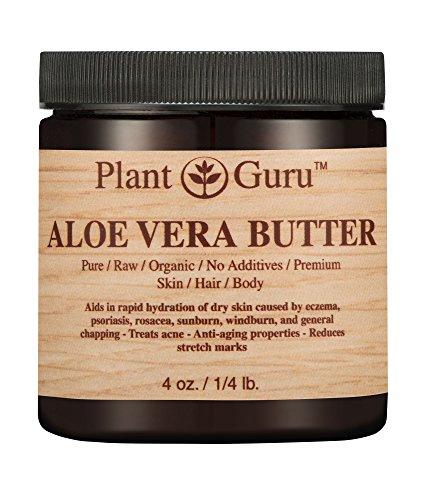 Aloe Vera Body Butter 4 oz. 100% Pure Raw Fresh Natural Cold Pressed. Skin, Hair, Nail Moisturizer, DIY Creams, Balms, Lotions, Soaps.
