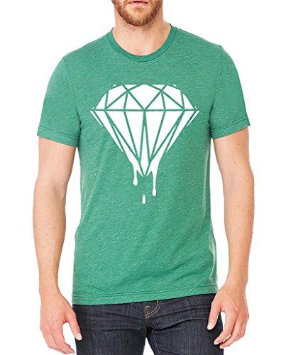 Men's White Dripping Diamond Green Tri Blend T-Shirt C2 Large Green