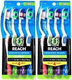 Reach Advanced Design Curve Firm Toothbrushes, 4 Count (Pack of 2) Total 8 Toothbrushes, Colors May Vary