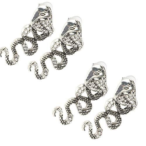 2 par Cobra formade örhängen handgjorda diamantörhängen för kvinnor flickor
