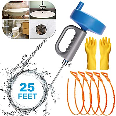Plumbing Snake Sink Drain Auger, 25 Ft Drain Clog Remover Pipe Snake, Professional Snake Cleaner For Bathtub Drain, Kitchen Sink, Sewer, With Gloves And 5 Pack Plastic Hair Snake