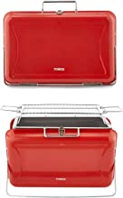 Tower Stealth T978516RED Portable Charcoal Briefcase BBQ with Carry Handle, Red