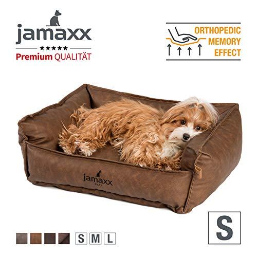 JAMAXX Premium Leder-Sofa Orthopädische Memory Visco Füllung, Hohe Seitenränder, Hunde-Couch mit Kunstleder Bezug, Reißverschluss, Hundebett PDB2019 (S) 70x50 braun