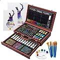 Vigorfun Luxury Art Supply 129-Piece Mega Wood Box Art, Painting & Drawing Set with Color Mixing Wheel and Drawing Sketching Paper Pads