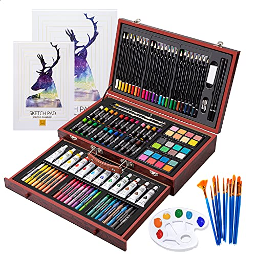 Art Supplies, 129-Piece Deluxe Wooden Art Set Crafts Kit with 2 Sketch Pads, Canvas Boards, Oil Pastels, Colored Pencils, Watercolor Cakes, Creative Gift for Kids, Teens, Beginners Girls Boys