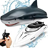 OBEST RC Juguete Barco 2.4GHZ Control Remoto TiburóN Barco, 2 en 1 Flexibles TiburóN/Lancha RáPida, Juguete EléCtrico Shark de Piscina Agua para NiñOs