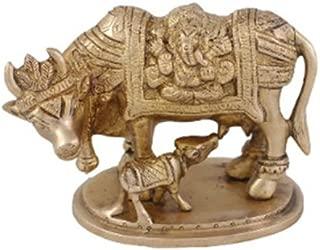 Indian Handicrafts Export Arihant Craft Cow N Calf Idol Nandi Statue Mahadev Mount Nandi Sculpture Hand Work Showpiece – 9.3 cm (Brass, Gold) Showpiece - 9.3 cm (Brass, Yellow, Gold)