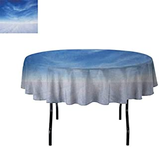 Sky Easy Care Leakproof and Durable Tablecloth Snowy Mountain with Open Weather Environment Nature Photography Idyllic Themes Print Outdoor Picnic D70 Inch Blue White