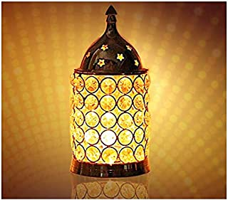 CRAFTSMAN Crafts'man Diwali Gift/Diwali Deepawali Decoration Akhand Diya Decorative Brass Crystal Oil Lamp Tea Light Holder Lantern Pillar Shape | Puja Lamp (6 INCH).Indian Gift Items