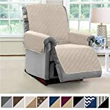 MIGHTY MONKEY Premium Reversible Recliner Protector, Seat Width to 28 Inch, Furniture Slipcover, 2 Inch Strap, Reclining Chair Slip Cover Throw for Pets, Dogs, Recliner, Beige Latte