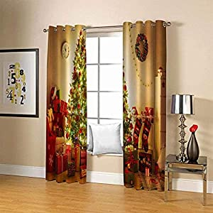 FFKL Blackout Curtains Eyelet Ring Top Thermal Insulated Window Treatment Drapes for Bedroom, Livingroom, Kids Nursery Room