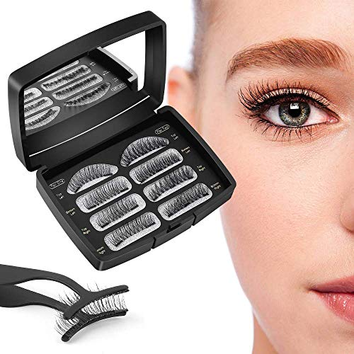 Magnetische Wimpern,3D Künstliche Wimpern Set, Wiederverwendbare Dual Magnetic False Eyelashes mit Hilfspinzette + Wimpernbürste + Aufbewahrungskiste, 2 Paar 8 Stück