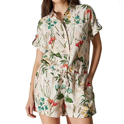 VEKEM V01-DESIRE Jumpsuit 2 - Maglietta, motivo floreale, colore: Turchese Motivo floreale beige. Small