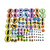 Julie Wang 180PCS/Pack Assorted Mixed Size Round Glass Dragon Eye Covered Cabochons for Doll Making and Jewelry Settings 6mm 8mm 10mm 12mm 15mm 18mm 20mm 25mm 30mm