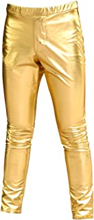 Kepblom Mens Metallic Shiny Leggings Wetlook Long Tights Pants Jeans Straight Leg Trousers