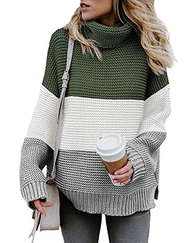 Yidarton Pullover Damen Rollkragenpullover Strickpullover Lässiges Stricken Pulli Winter Sweatshirt Oberteile Elegant, Z-grün, XL