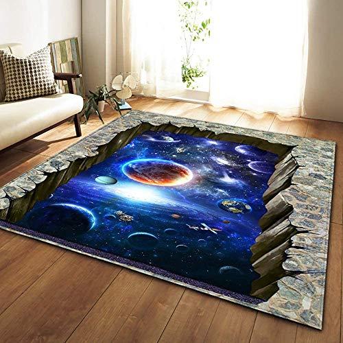 HSRG Skandinavische Teppiche aus weichem Flanell, 3D-Druck Weltraum, rutschfest, groß, für Wohnzimmer, dekorativ 150x200cm #1