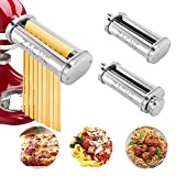 Pasta Maker Attachment, ZACME 3 in 1 Pasta Roller & Cutter Attachments Set for KitchenAid Stand Mixers, Including Durable Pasta Sheet Roller, Spaghetti Cutter, Fettuccine Cutter (Silver)