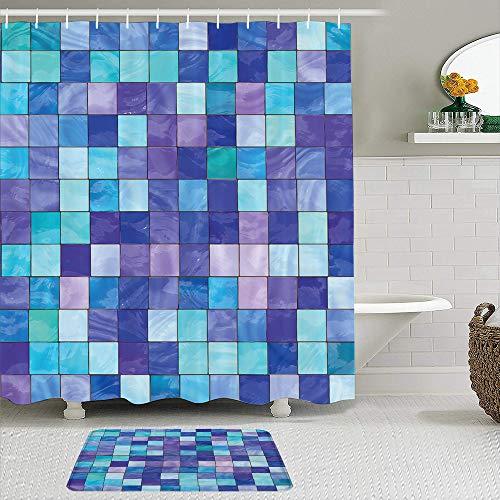 ZELXXXDA Juegos de Cortinas de Ducha con alfombras Antideslizantes,Estampado de ensueño a Cuadros Azul Marino y, Alfombra de baño + Cortina de Ducha con 12 Ganchos