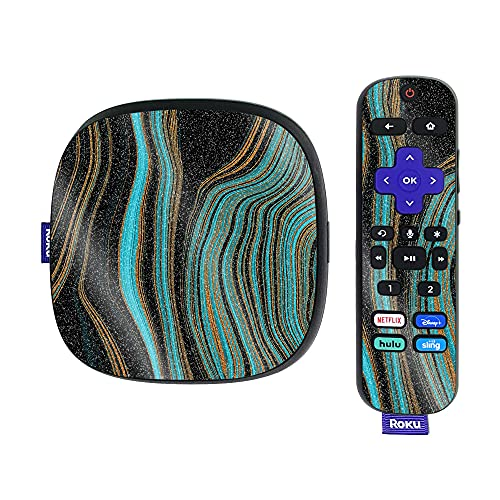 MightySkins Glossy Glitter Skin Compatible with Roku Ultra HDR 4K Streaming Media Player (2020) - Blue Canyon | Protective, Durable High-Gloss Glitter Finish | Easy to Apply | Made in The USA