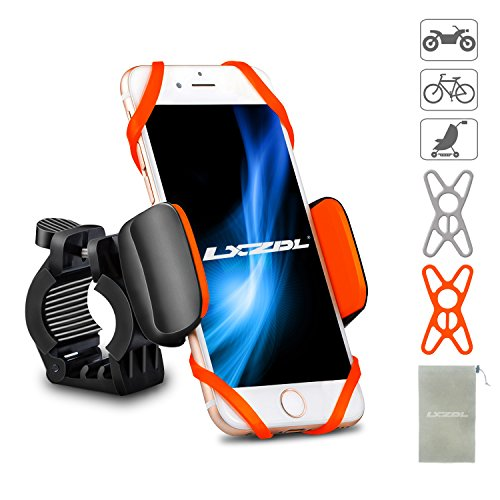"LXZDL Bike Phone Mount Bicycle Holder, Universal Phone Bicycle Rack Handlebar/Motorcycle Holder Cradle for iPhone, Android Phone, Boating GPS, 360 Degrees Rotatable, Holds Phones Up to 3.5"" Wide"