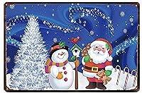 ムースクリスマス雪だるまヴィンテージスタイルメタルサインアイアン絵画屋内 & 屋外ホームバーコーヒーキッチン壁の装飾 8 × 12 インチ