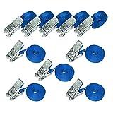 Amazon Basics - Cinghie di fissaggio con cricchetto, lunghezza 6 m, larghezza 25 mm, capacità di carico 800 kg, conformi a DIN EN 12195-2, colore blu (confezione da 10)