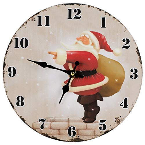 noTrash2003 - Orologio da parete natalizio, diametro 28 cm, con Babbo Natale e Babbo Natale