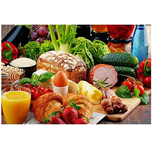 Verduras Pan Frutas Cocina Lienzo Pintura Restaurante Carteles Inicio Arte de la pared Comida Imagen 40x60cm Con marco acuarela