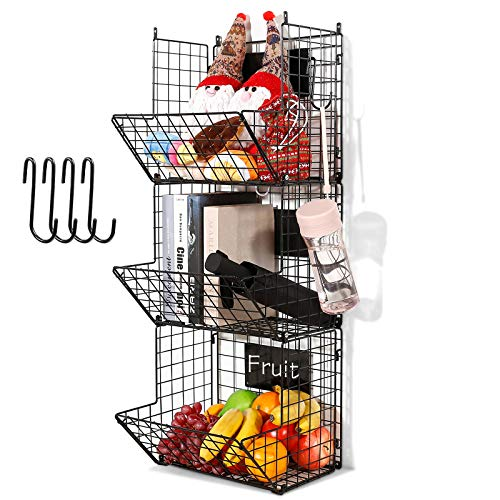 3 Tier Hanging Wire Basket - Wall Mounted Storage Bins for Pantry with Removable Chalkboards Kitchen Fruit and Vegetable Storage Baskets Metal Shelves Pantry Organization Containers Rack Produce Bin