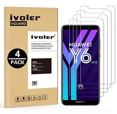 ivoler [4 Stücke] Panzerglas Schutzfolie für Huawei Y6 2018 / Huawei Honor 7A, 9H Festigkeit, Anti- Kratzer, Bläschenfrei, [2.5D R&e Kante]
