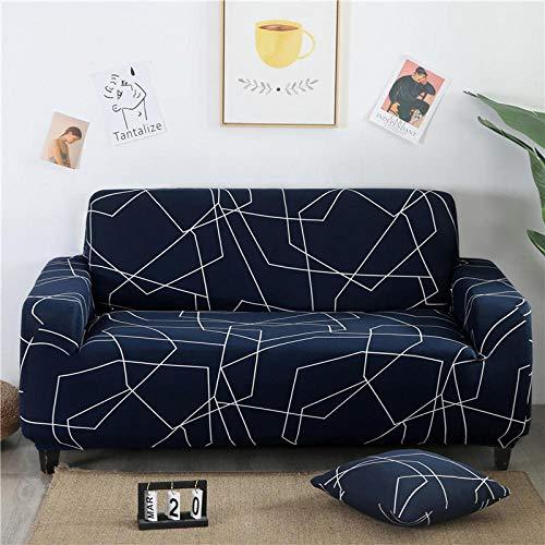 Funda de sofá de 2 Plazas Funda Elástica para Sofá Poliéster Suave Sofá Funda sofá Antideslizante Protector Cubierta de Muebles Elástica Líneas Blancas Azules Funda de sofá
