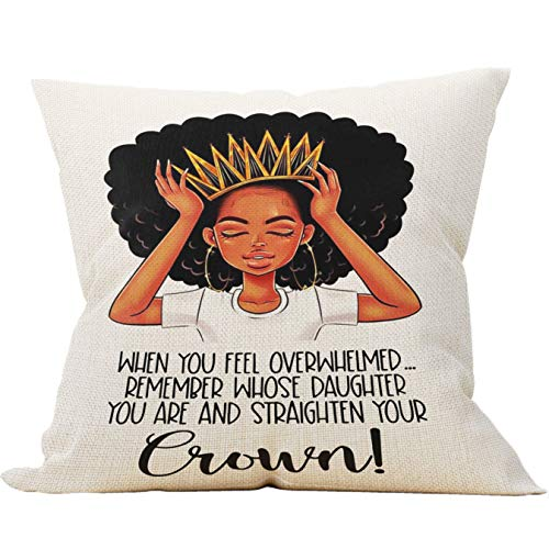 Mancheng-zi African Women Girl American with Crown Throw Pillow Case, Daughter Gifts from Mom and Dad, 18 x 18 Inch Decorative Black Art Cotton Linen Cushion Cover for Sofa Couch Bed