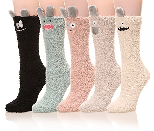 Womens Soft Cute Funny Animal Designe Microfiber Slipper Socks Cozy Fuzzy Winter Warm Socks (5 Colors 2)