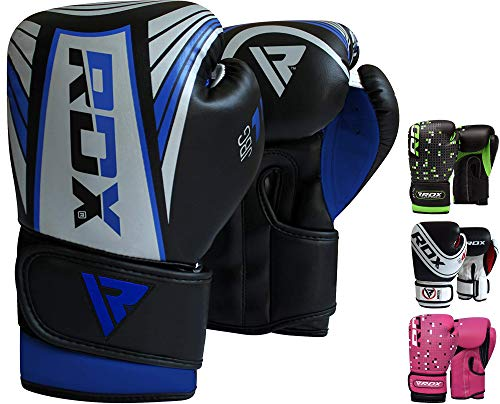 RDX Boxhandschuhe Kinder Muay Thai Boxsack Training Sparring Kickboxen Sandsack Junior Maya Hide Leder Boxing Gloves,grau, 4oz Junior